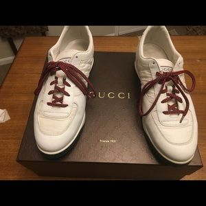 Gucci white men's leather/ Nylon lace trainer